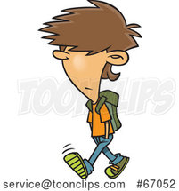 Cartoon White Boy with Messy Hair, Walking to School by Toonaday