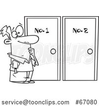 Cartoon Lineart Guy Choosing Between Doors by Toonaday