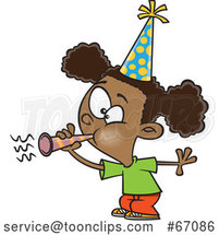 Cartoon Black Girl Blowing a Party Horn by Toonaday
