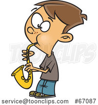 Cartoon White Boy Playing a Saxophone by Toonaday