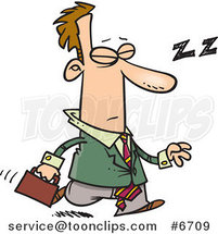 Cartoon Tired Business Man Dozing While Walking by Toonaday