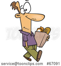 Cartoon White Guy Walking and Carrying a Bag of Groceries by Toonaday