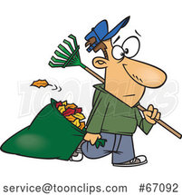 Cartoon White Guy Carrying a Rake and Pulling Al Leaf Bag by Toonaday
