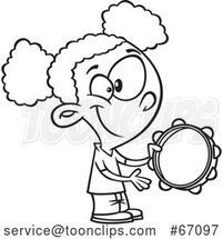 Cartoon Outline Black Girl Playing a Tambourine by Toonaday