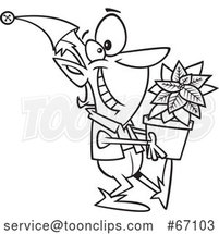 Cartoon Outline Christmas Elf Holding a Poinsettia Plant by Toonaday