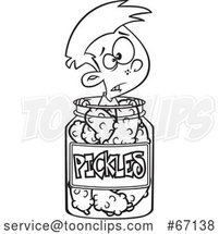 Cartoon Outline Boy Caught in a Pickle Jar by Toonaday