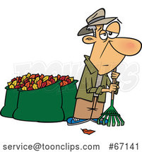 Cartoon Tired Old White Guy After Raking and Bagging Autumn Leaves by Toonaday
