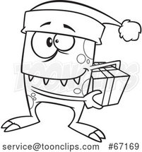 Cartoon Outline Christmas Elf Monster Holding a Gift by Toonaday