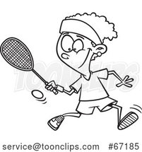 Cartoon Outline Black Girl Playing Squash by Toonaday