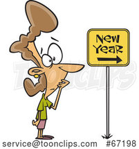 Cartoon Nervous Lady Looking at a New Year Ahead Sign by Toonaday
