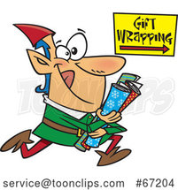 Cartoon Christmas Elf Running to Wrap Gifts by Toonaday
