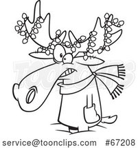Cartoon Lineart Christmas Moose with Lights by Toonaday