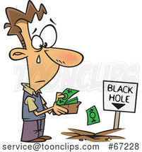 Cartoon Sad Guy Pouring His Money in to a Black Hole by Toonaday