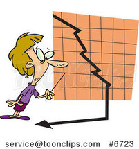 Cartoon Business Woman Watching a down Turn Arrow by Toonaday