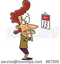 Cartoon White Lady Biting Her Nails and Looking at a Friday the 13th Calendar by Toonaday