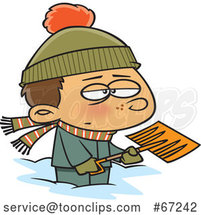 Cartoon Grumpy Boy Shoveling Snow by Toonaday