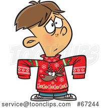 Cartoon Boy Wearing a Big Rudolph Christmas Sweater by Toonaday