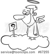Cartoon Black and White Angel Grinning on Cloud Nine by Toonaday