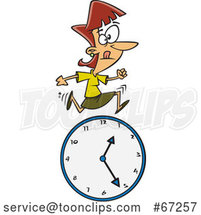 Cartoon White Businesswoman Running over a Clock by Toonaday