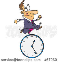 Cartoon White Businessman Running over a Clock by Toonaday