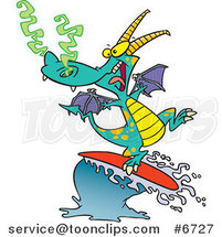 Cartoon Surfing Dragon by Ron Leishman