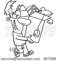 Cartoon Black and White Happy Guy Carrying a Box of Stuff to Get Rid of by Toonaday