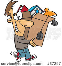 Cartoon Happy White Guy Carrying a Box of Stuff to Get Rid of by Toonaday