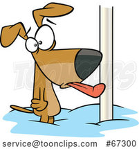 Cartoon Dog with His Tongue Stuck Frozen to a Pole by Toonaday