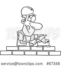 Cartoon Lineart Mason Contractor Laying Bricks by Toonaday