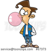 Cartoon White Teen Boy Wearing a Letter Jacket and Blowing Bubble Gum by Toonaday