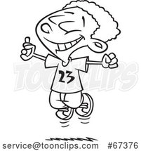 Cartoon Black and White Excited Black Boy Jumping After Finding Money by Toonaday