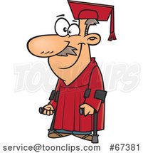 Cartoon Happy Older White Graduate with Canes by Toonaday