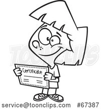 Cartoon Black and White Proud Girl Holding a Certificate by Toonaday