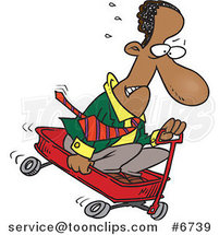 Cartoon Black Business Man Riding Downhill in a Wagon by Toonaday