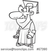 Cartoon Black and White Happy Older Graduate with Canes by Toonaday