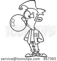 Cartoon Black and White Teen Boy Wearing a Letter Jacket and Blowing Bubble Gum by Toonaday
