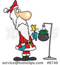 Cartoon Santa Ringing a Bell by Ron Leishman