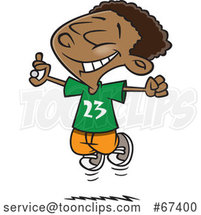 Cartoon Excited Black Boy Jumping After Finding Money by Toonaday