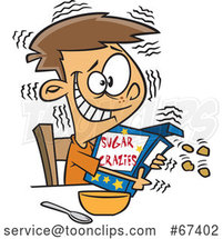 Cartoon Jittery White Boy Hugging a Sugary Cereal Box by Toonaday