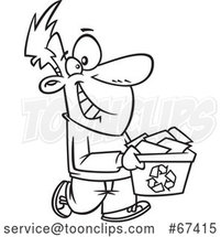 Cartoon Black and White Happy Guy Carrying a Recycle Bin by Toonaday