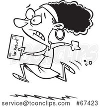 Cartoon Black and White Black Lady Running to File Taxes by the Deadline by Toonaday