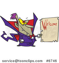 Cartoon Vampire Holding a Welcome Sign by Ron Leishman