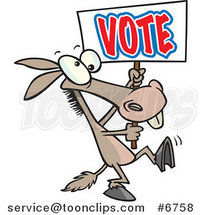Cartoon Donkey Carrying a Vote Sign by Ron Leishman
