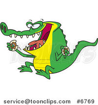 Cartoon an Alligator Eating a Donut by Ron Leishman
