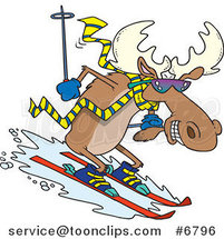 Cartoon Moose Skiing Downhill by Ron Leishman
