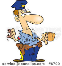 Cartoon Police Guy Eating a Donut by Ron Leishman