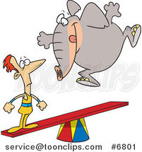 Cartoon Elephant Jumping on a See Saw to Make a Stunt Guy Fly by Ron Leishman
