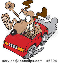 Cartoon Driving Dog with Road Rage by Ron Leishman