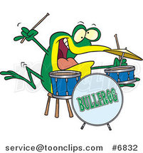Cartoon Drummer Frog by Ron Leishman