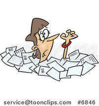 Cartoon Business Woman Drowning in Papers by Toonaday